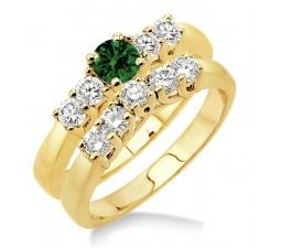 1.5 Carat Emerald & Diamond Five Stone Bridal Set  on 10k Yellow Gold