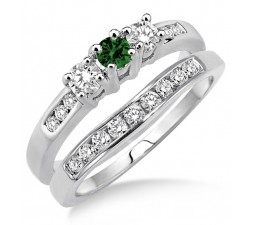 2 Carat Emerald & Diamond Elegant Three Stone Trilogy Round Cut Bridal set on 10k White Gold