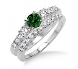 1.5 Carat Emerald & Diamond Trilogy Bridal set  on 10k White Gold