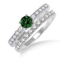 1.5 Carat Emerald & Diamond Elegant Bridal Set  on 10k Yellow Gold
