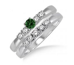 1.25 Carat Emerald & Diamond Elegant 5 stone Bridal Set  on 10k White Gold