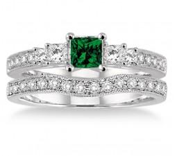 1.5 Carat Emerald & Diamond Antique Bridal set Halo Ring  on 10k White Gold