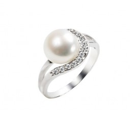 Real Pearl Engagement Ring on Silver