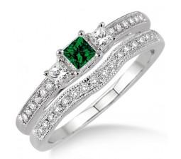 1.5 Carat Emerald & Diamond Three Stone Bridal Set  on 10k White Gold