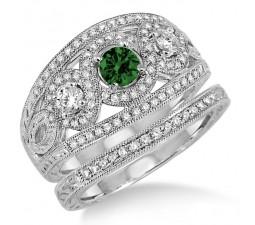 2 Carat Emerald & Diamond Trilogy set Ring  on 10k White Gold