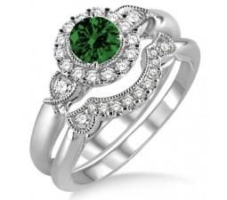 1.25 Carat Emerald & Diamond Antique Three Stone Flower Halo Bridal Set  on 10k White Gold