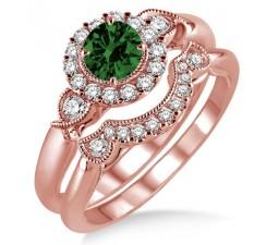 1.25 Carat Emerald & Diamond Antique Three Stone Flower Halo Bridal Set on 10k Rose Gold