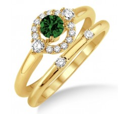 1.25 Carat Emerald & Diamond Elegant Flower Halo Bridal Set  on 10k Yellow Gold