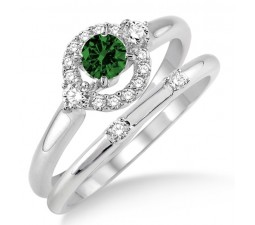 1.25 Carat Emerald & Diamond Elegant Flower Halo Bridal Set  on 10k White Gold