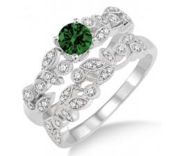 1.25 Carat Emerald & Diamond Antique Flower Bridal Set  on 10k White Gold