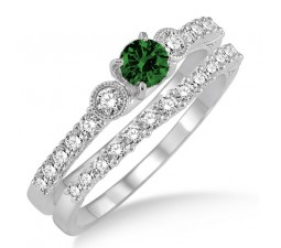 1.5 Carat Emerald & Diamond Antique Three Stone Bridal Set  on 10k White Gold