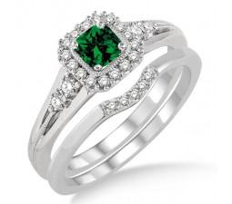 1.5 Carat Emerald & Diamond Bridal Set Halo Engagement Ring Bridal Set on 10k White Gold
