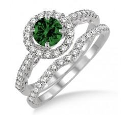 1.5 Carat Emerald & Diamond Antique Floral Halo Bridal set  on 10k White Gold