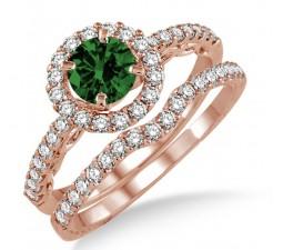 1.5 Carat Emerald & Diamond Antique Floral Halo Bridal set on 10k Rose Gold