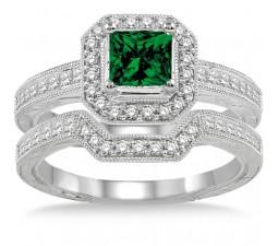 2 Carat Emerald & Diamond Antique Halo Bridal set on 10k White Gold