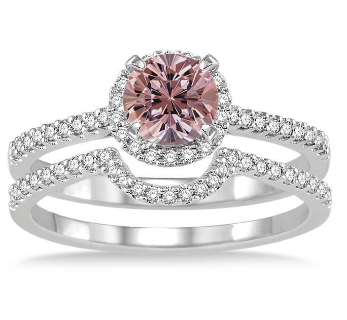 2 carat morganite diamond halo bridal set engagement