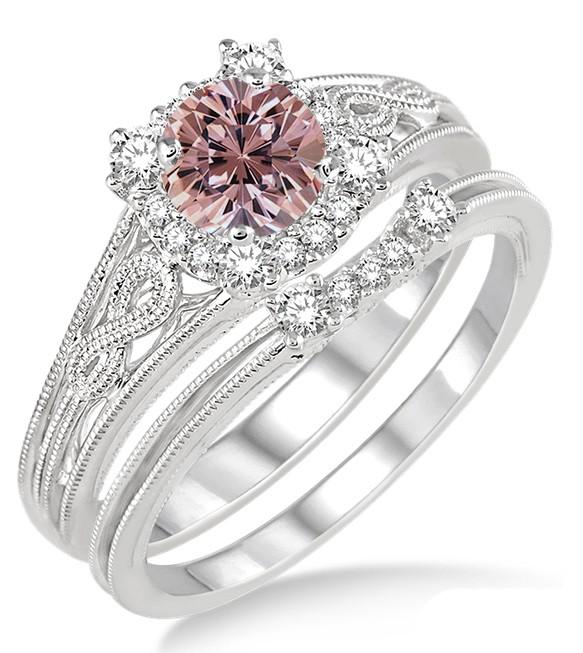 1 25 Carat Morganite Amp Diamond Vintage Halo Floral Bridal