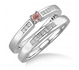 1.25 Carat Morganite & Diamond Affordable Bridal Set on 10k White Gold