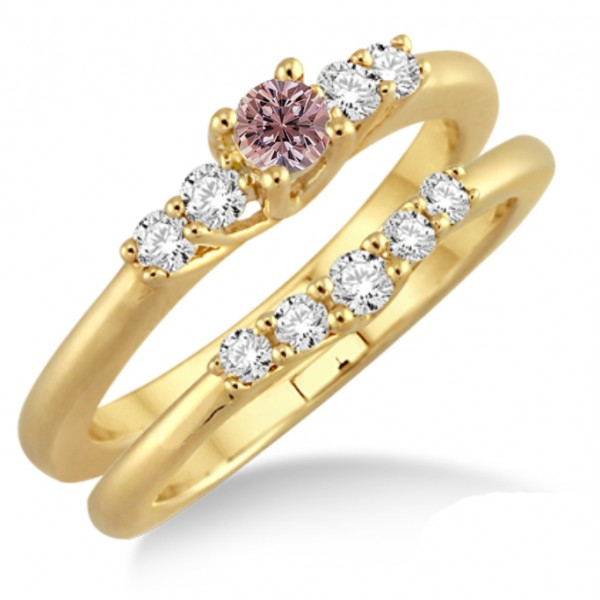 1.25 Carat Morganite & Diamond Affordable Bridal Set on 10k Yellow Gold