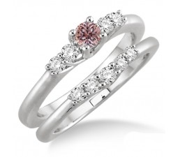 1.25 Carat Morganite & Diamond Inexpensive Bridal Set on 10k White Gold