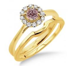 1.25 Carat Morganite & Diamond Bridal set Halo on 10k Yellow Gold