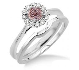 1.25 Carat Morganite & Diamond Bridal set Halo on 10k White Gold