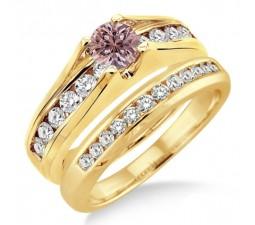 1.25 Carat Morganite & Diamond Bridal Set on 10k Yellow Gold