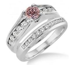 1.25 Carat Morganite & Diamond Bridal Set on 10k White Gold
