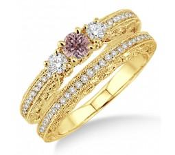 2 Carat Morganite & Diamond Antique Milgrain Bridal set on 10k Yellow Gold