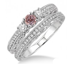 2 Carat Morganite & Diamond Antique Bridal set on 10k White Gold