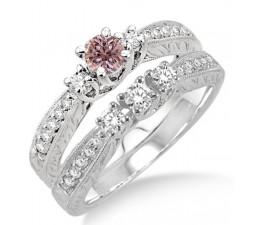 1.5 Carat Morganite & Diamond Antique Bridal set on 10k White Gold