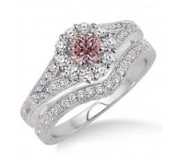 1.5 Carat Morganite & Diamond Antique Floral Bridal set on 10k White Gold