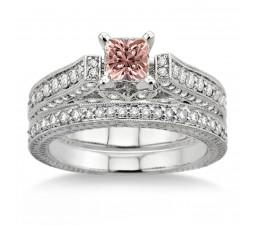 2 Carat Morganite & Diamond 2.10 Carat Morganite & Diamond Antique Bridal Set Engagement Ring on 10k White Gold