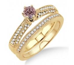 2 Carat Morganite & Diamond Antique Bridal Set Engagement Ring on 10k Yellow Gold