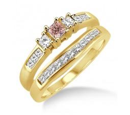 1.25 Carat Morganite & Diamond Elegant Three Stone Trilogy Round Cut Bridal set on 10k Yellow Gold