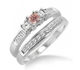 1.25 Carat Morganite & Diamond Elegant Three Stone Trilogy Round Cut Bridal set on 10k White Gold