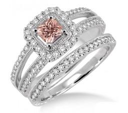 2 Carat Morganite & Diamond Antique Bridal set Halo Ring on 10k White Gold