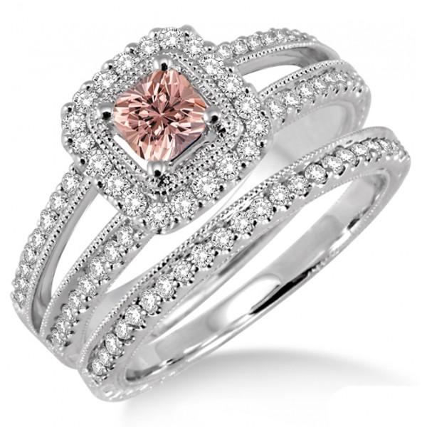 2 Carat Morganite & Diamond Antique Bridal set Halo Ring on 10k White Gol