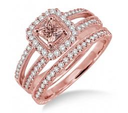 2 Carat Morganite & Diamond Antique Bridal set Halo Ring on 10k Rose Gold