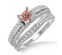 1.5 Carat Morganite & Diamond Antique Bridal set Ring on 10k White Gold