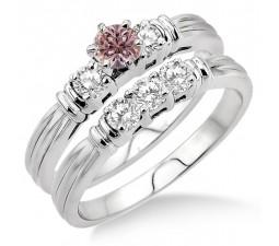 1.25 Carat Morganite & Diamond Three Stone Bridal Set on 10k White Gold