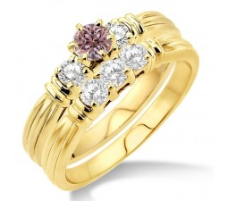 1.25 Carat Morganite & Diamond Three Stone Bridal Set on 10k Yellow Gold