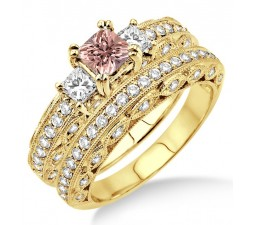 2 Carat Morganite & Diamond Antique Three Stone Bridal set on 10k Yellow Gold