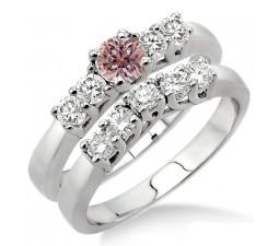 1.5 Carat Morganite & Diamond Five Stone Bridal Set on 10k White Gold