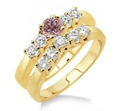 1.5 Carat Morganite & Diamond Five Stone Bridal Set on 10k Yellow Gold