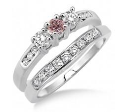 2 Carat Morganite & Diamond Elegant Three Stone Trilogy Round Cut Bridal set on 10k White Gold