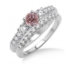 1.5 Carat Morganite & Diamond Trilogy Bridal set on 10k White Gold