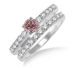 1.5 Carat Morganite & Diamond Elegant Bridal Set on 10k White Gold