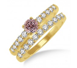 1.5 Carat Morganite & Diamond Elegant Bridal Set on 10k Yellow Gold