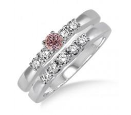 1.25 Carat Morganite & Diamond Elegant 5 stone Bridal Set on 10k White Gold